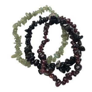 Natural Stone Stretchy Bracelets. Comes with 3